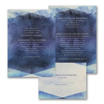 Watercolor Gem - ValStyle Invitation - Navy - Ecru
