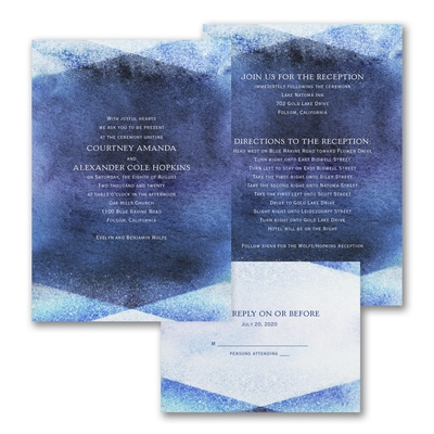 Watercolor Gem - ValStyle Invitation - Navy - White