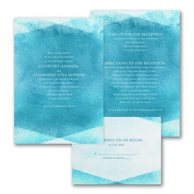 Watercolor Gem - ValStyle Invitation - Marine - White