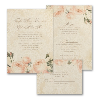 Warm Roses ValStyle Invitation - Ecru