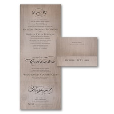 Seal and Send Invitation: Romantic Woodgrain