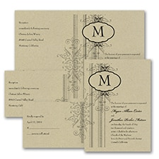 Damask Border - Sep 'n Send Invitation - Kraft