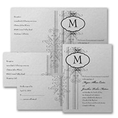 Damask Border - Monogram Invitation