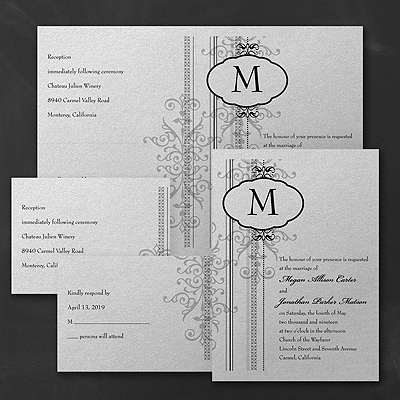 Damask Border - Sep 'n Send Invitation - Silver Shimmer