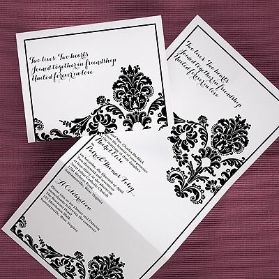 Divine Damask - Z-Fold Invitation - White