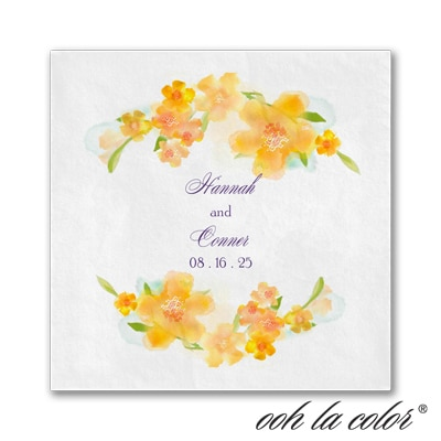 Watercolor Flowers Napkin - Citrus