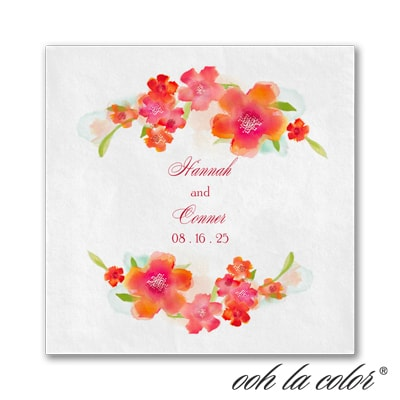 Watercolor Flowers Napkin - Mango