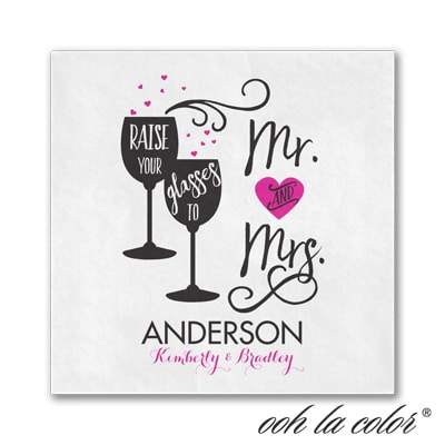 Cheers to Mr. & Mrs. - Beverage Napkin - White