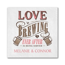 Brewing Love - Beverage Napkin - White