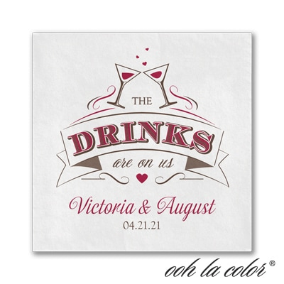 Get a Drink - Beverage Napkin - White