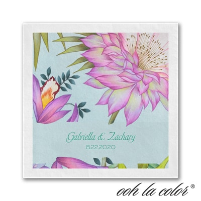 Tropical Paradise - Beverage Napkin - White