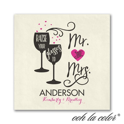 Cheers to Mr. & Mrs. - Beverage Napkin - Ecru