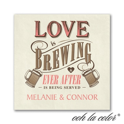 Brewing Love - Beverage Napkin - Ecru