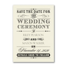 Wedding Day Declaration - Save the Date - Ecru
