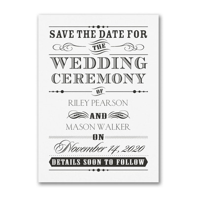 Wedding Day Declaration - Save the Date - White
