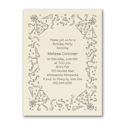 Party Celebration - Birthday Invitation - Ecru
