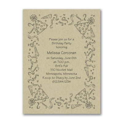 Party Celebration - Birthday Invitation - Kraft