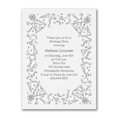 Party Celebration - Birthday Invitation - White