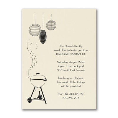 BBQ Grill - Party Invitation - Ecru