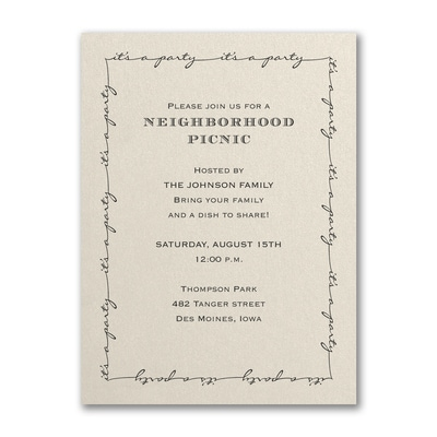 It's a Party - Party Invitation - Ecru Shimmer