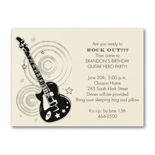 Rockin' Guitar - Birthday Invitation - Ecru