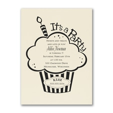 Cupcake Party - Birthday Invitation - Ecru