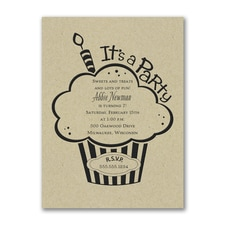 Cupcake Party - Birthday Invitation - Kraft