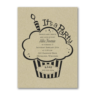 Cupcake Party - Birthday Invitation - Kraft