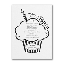 Cupcake Party - Birthday Invitation - White Shimmer