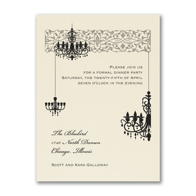 Chandelier - Party Invitation - Ecru