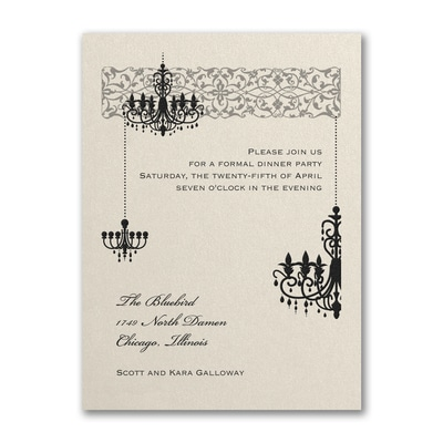 Chandelier - Party Invitation - Ecru Shimmer