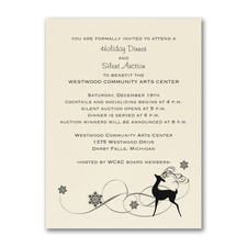 Reindeer Fun - Party Invitation - Ecru