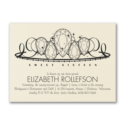 Sweet 16 Diamond Tiara - Birthday Invitation - Ecru