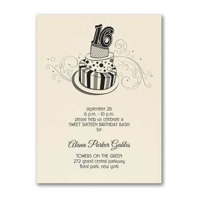 Sweet 16 Fun - Birthday Invitation - Ecru