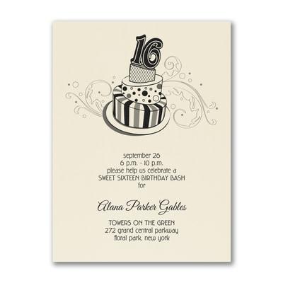 Sweet 16 Fun - Birthday Invitation - Ecru