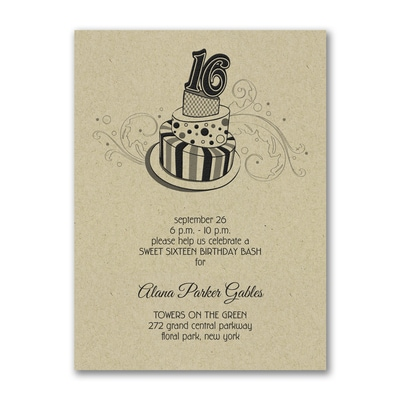 Sweet 16 Fun - Birthday Invitation - Kraft
