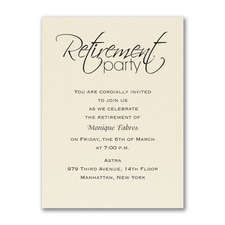 Retirement Celebration - Party Invitation - Ecru