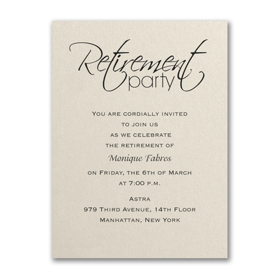 Retirement Celebration Party Invitation Ecru Shimmer