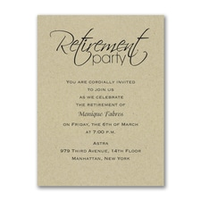 Retirement Celebration - Party Invitation - Kraft