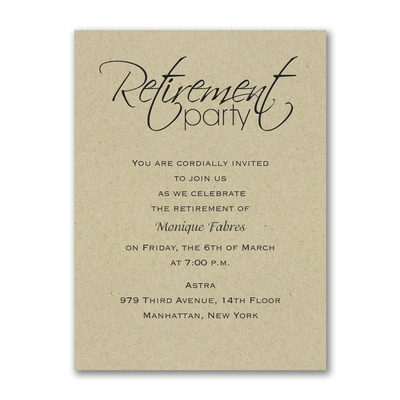 Retirement Celebration Party Invitation Kraft