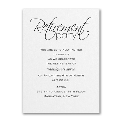Retirement Celebration Party Invitation White Shimmer