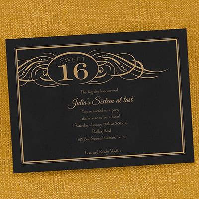 Swirled Sweet 16 - Invitation
