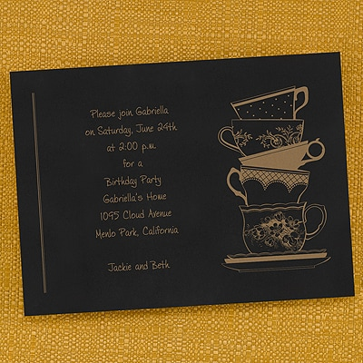 Stacked Tea Cups - Invitation