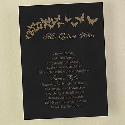 Quince Años Butterflies - Invitation
