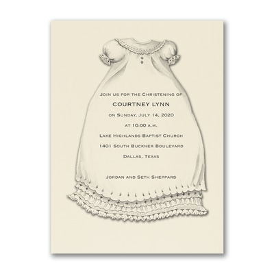 A Christening Blessing - Baptism Invitation - Ecru