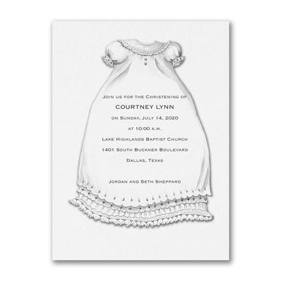 A Christening Blessing - Baptism Invitation - White