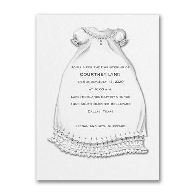 A Christening Blessing - Baptism Invitation - White Shimmer