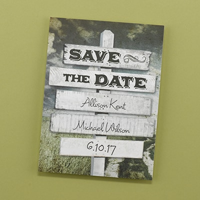 Rustic Sign Post - Save the Date Card