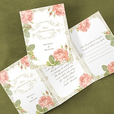 Vintage Cabbage Rose - Invitation