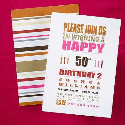 Typography Stripes - 50th Birthday - Invitation